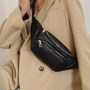 Vegan leather crossbody fanny pack bag black